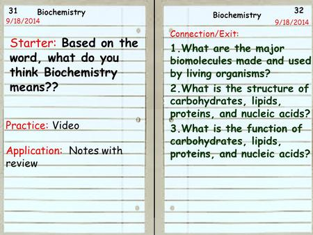 31 32 9/18/2014 9/18/13 Starter: Based on the word, what do you think Biochemistry means?? Practice: Video Application: Notes with review Biochemistry.