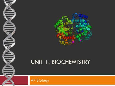 UNIT 1: BIOCHEMISTRY AP Biology. AP Learning Objectives 2.8The student is able to justify the selection of data regarding the types of molecules that.