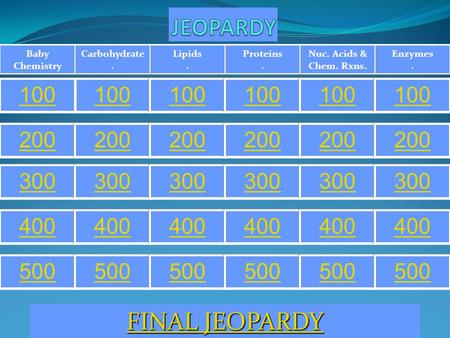 Enzymes. Nuc. Acids & Chem. Rxns. Proteins. Lipids. Carbohydrate. Baby Chemistry 100 200 300 400 500 FINAL JEOPARDY FINAL JEOPARDY.
