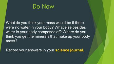 Do Now What do you think your mass would be if there were no water in your body? What else besides water is your body composed of? Where do you think you.