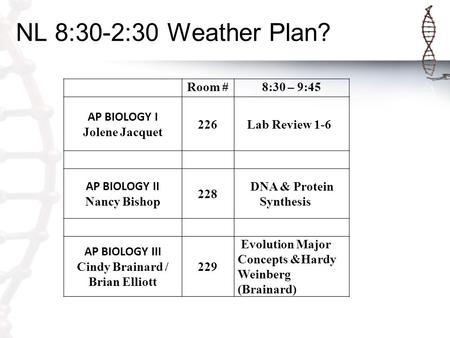 NL 8:30-2:30 Weather Plan? Room #8:30 – 9:45 AP BIOLOGY I Jolene Jacquet 226 Lab Review 1-6 AP BIOLOGY II Nancy Bishop 228 DNA & Protein Synthesis AP BIOLOGY.