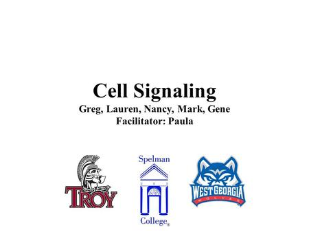 Cell Signaling Greg, Lauren, Nancy, Mark, Gene Facilitator: Paula.