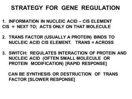 STRATEGY FOR GENE REGULATION 1.INFORMATION IN NUCLEIC ACID – CIS ELEMENT CIS = NEXT TO; ACTS ONLY ON THAT MOLECULE 2.TRANS FACTOR (USUALLY A PROTEIN) BINDS.