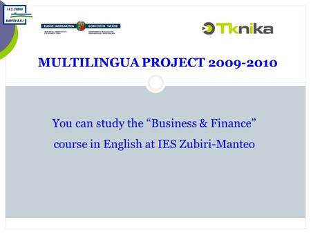 "MULTILINGUA PROJECT 2009-2010 You can study the ""Business & Finance"" course in English at IES Zubiri-Manteo."