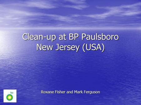 Clean-up at BP Paulsboro New Jersey (USA) Roxane Fisher and Mark Ferguson.