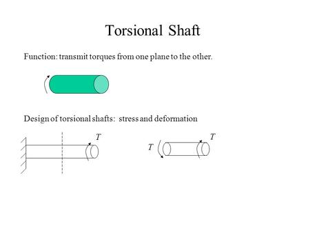 Torsional Shaft Function: transmit torques from one plane to the other. Design of torsional shafts: stress and deformation T T T.