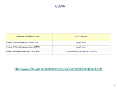 CSWA http://www.eng.uwo.ca/designcentre/CAD%20resources/default.htm.