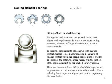 Rolling element bearings A. Lozzi 2012