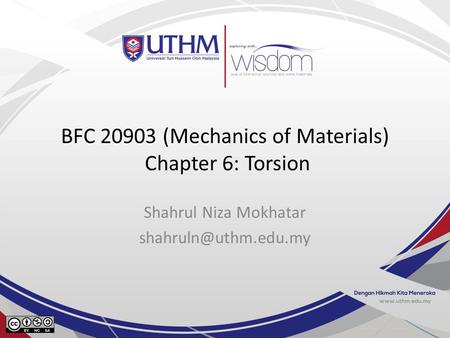BFC (Mechanics of Materials) Chapter 6: Torsion