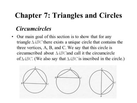 Chapter 7: Triangles and Circles