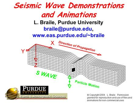 Seismic Wave Demonstrations and Animations L. Braile, Purdue University   Copyright 2004. L. Braile. Permission.