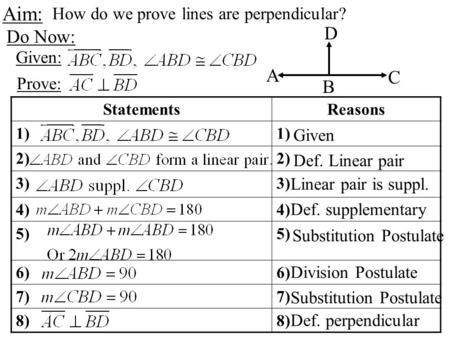 1 Aim: How do we prove lines are perpendicular? Do Now: A C D B StatementsReasons 1) 2) 3) 4) 5) 6) 7) 8) Given Def. Linear pair Linear pair is suppl.