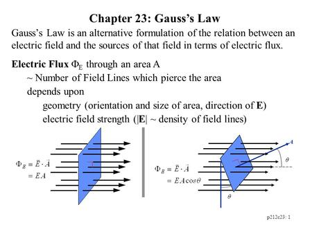 Chapter 23: Gauss's Law Gauss's Law is an alternative formulation of the relation between an electric field and the sources of that field in terms of electric.