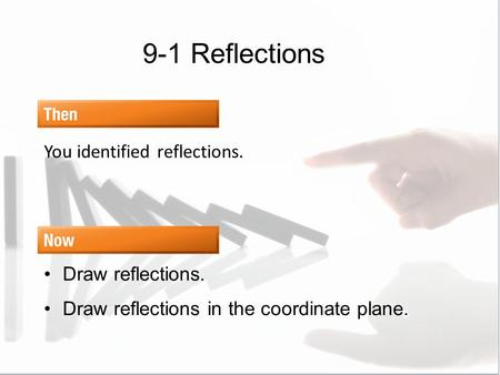 9-1 Reflections You identified reflections. Draw reflections.