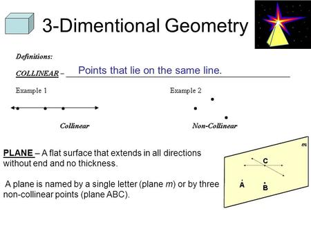 3-Dimentional Geometry Points that lie on the same line. PLANE – A flat surface that extends in all directions without end and no thickness. A plane is.