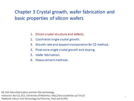 Silicon crystal structure and defects.