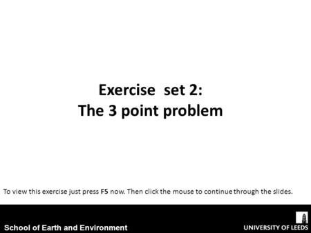 Exercise set 2: The 3 point problem
