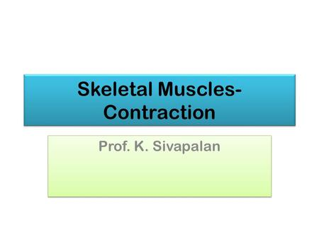Skeletal Muscles- Contraction Prof. K. Sivapalan.