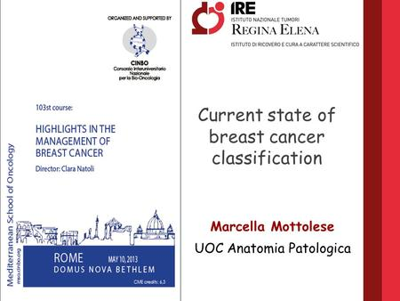 Current state of breast cancer classification Marcella Mottolese UOC Anatomia Patologica.