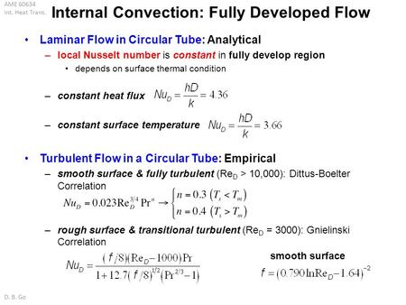 Internal Convection: Fully Developed Flow