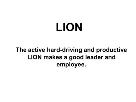 LION The active hard-driving and productive LION makes a good leader and employee.