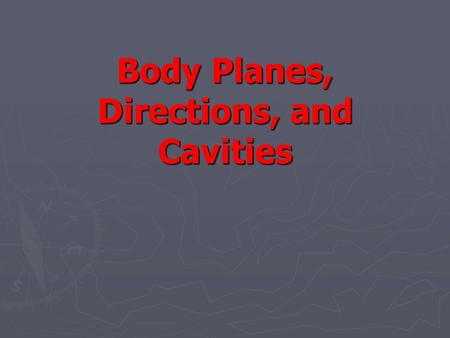 Body Planes, Directions, and Cavities. Introduction ► to care for patients, you must be able to identify areas of the body for treatments, injections,