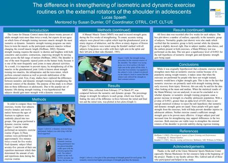 The difference in strengthening of isometric and dynamic exercise routines on the external rotators of the shoulder in adolescents Lucas Spaeth Mentored.