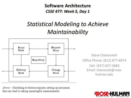 1 Software Architecture CSSE 477: Week 5, Day 1 Statistical Modeling to Achieve Maintainability Steve Chenoweth Office Phone: (812) 877-8974 Cell: (937)