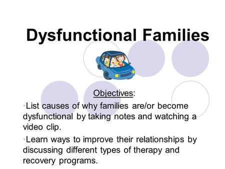 Dysfunctional Families Objectives: List causes of why families are/or become dysfunctional by taking notes and watching a video clip. Learn ways to improve.