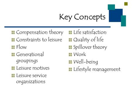Key Concepts Compensation theory Constraints to leisure Flow Generational groupings Leisure motives Leisure service organizations Life satisfaction Quality.