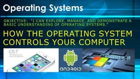 "OBJECTIVE: ""I CAN EXPLORE, MANAGE, AND DEMONSTRATE A BASIC UNDERSTANDING OF OPERATING SYSTEMS."" Operating Systems HOW THE OPERATING SYSTEM CONTROLS YOUR."