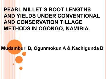 PEARL MILLET'S ROOT LENGTHS AND YIELDS UNDER CONVENTIONAL AND CONSERVATION TILLAGE METHODS IN OGONGO, NAMIBIA. Mudamburi B, Ogunmokun A & Kachigunda B.