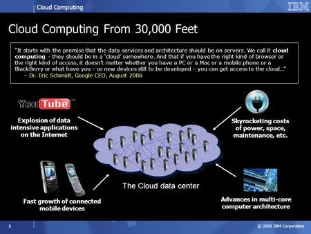 Cloud Computing © 2008 IBM Corporation 1 Cloud Computing From 30,000 Feet Fast growth of connected mobile devices Skyrocketing costs of power, space, maintenance,