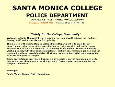 SANTA MONICA COLLEGE POLICE DEPARTMENT