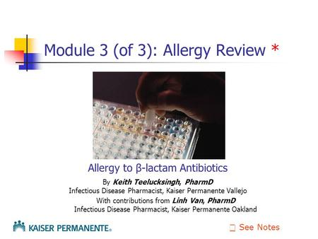 Module 3 (of 3): Allergy Review *