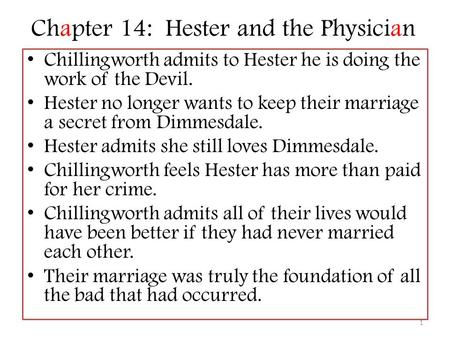 Chapter 14: Hester and the Physician Chillingworth admits to Hester he is doing the work of the Devil. Hester no longer wants to keep their marriage a.