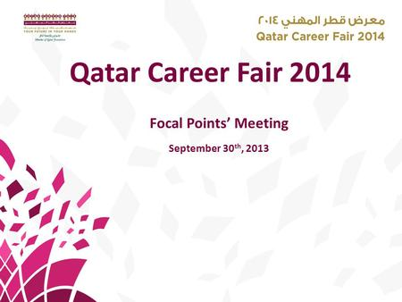 Qatar Career Fair 2014 Focal Points' Meeting September 30 th, 2013.