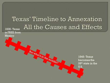 1836- Texas is FREE from Mexico 1845- Texas becomes the 28 th state in the U.S. But what's in the middle?
