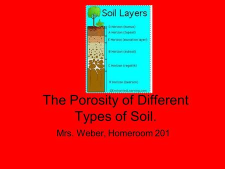 The Porosity of Different Types of Soil. Mrs. Weber, Homeroom 201.