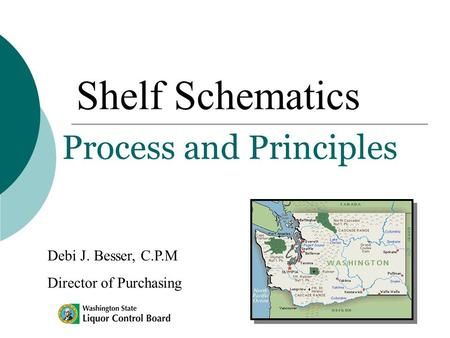 Shelf Schematics Process and Principles Debi J. Besser, C.P.M Director of Purchasing.