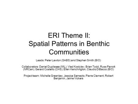 ERI Theme II: Spatial Patterns in Benthic Communities Leads: Peter Lawton (SABS) and Stephen Smith (BIO) Collaborators: Daniel Duplissea (IML); Vlad Kostylev,