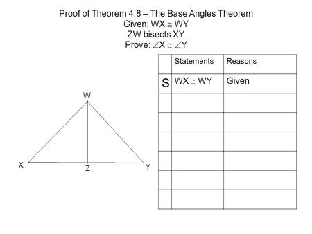Proof of Theorem 4.8 – The Base Angles Theorem Given: WX  WY ZW bisects XY Prove:  X   Y StatementsReasons S WX  WY Given.