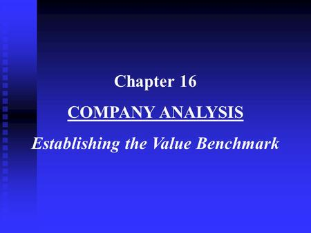 Establishing the Value Benchmark