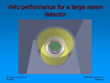 M. Carson, University of Sheffield IDM 2004, University of Edinburgh Veto performance for a large xenon detector.