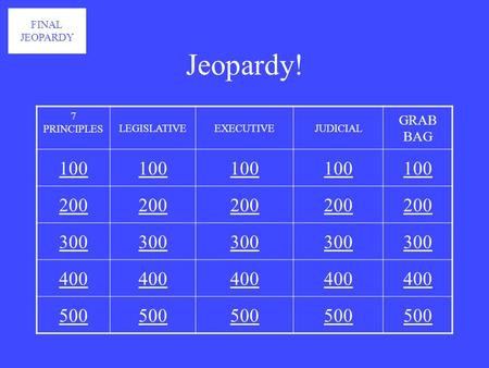 Jeopardy! 7 PRINCIPLES LEGISLATIVEEXECUTIVEJUDICIAL GRAB BAG 100 200 300 400 500 FINAL JEOPARDY.