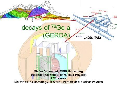 The Germanium Detector Array for the search of neutrinoless  decays of 76 Ge at LNGS (GERDA) LNGS, ITALY Stefan Schoenert, MPIK Heidelberg International.