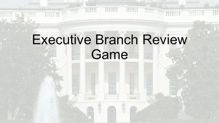 Executive Branch Review Game