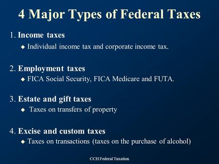 4 Major Types of Federal Taxes