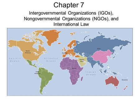 Chapter 7 Intergovernmental Organizations (IGOs), Nongovernmental Organizations (NGOs), and International Law.