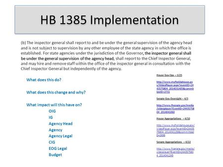 HB 1385 Implementation What does this do? What does this change and why? What impact will this have on? OIG IG Agency Head Agency Agency Legal CIG EOG.